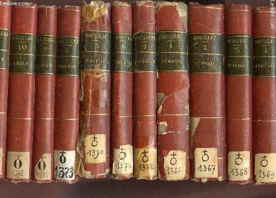 OEUVRES COMPLETES DE J.J. ROUSSEAU, CITOYEN DE GENEVE / EN 22 VOLUMES - DU TOME I AU TOME XXII / MEMOIRES + HELOISE + DISCOURS + EMILE + POLITIQUE + MELANGES + MUSIQUE + CORRESPONDANCES.