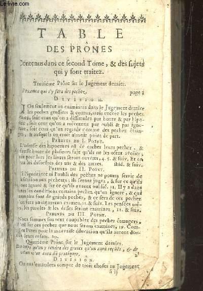 TABLE DES PRONES - TOME II.