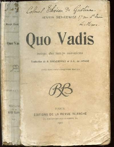 QUA VADIS - Roman des temps néroniens