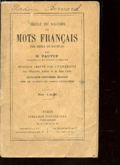 ABREGE DU RECUEIL DE MOTS FRANCAIS