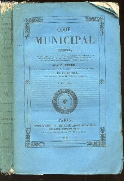 CODE MUNICIPAL ANNOTE / 2e EDITION.