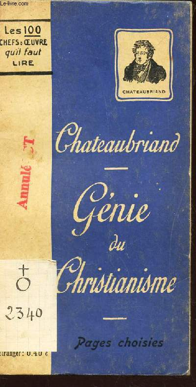 GENIE DU CHRISTIANISME  - (PAGES CHOISIES)  / COLLECTION