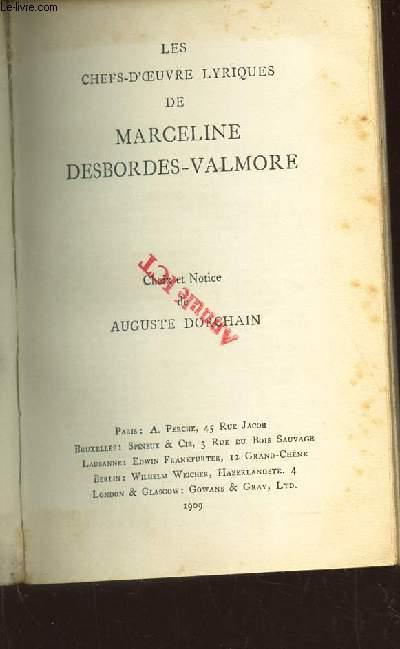 LES CHEFS D'OEUVRE LYRIQUES DE MARCELINE DESBORDES-VALMORE