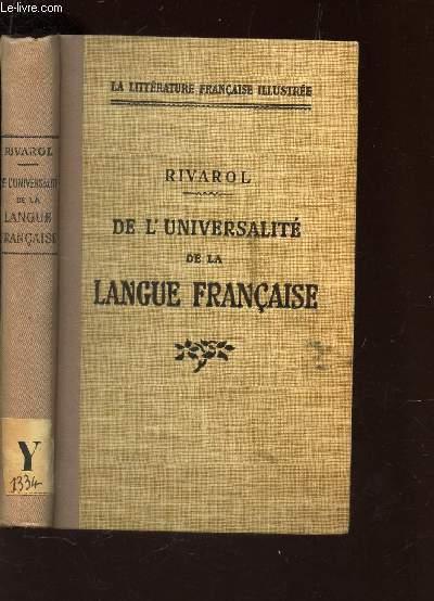 DE L'UNIVERSITE DE LA LANGUE FRANCAISE / COLLECTION