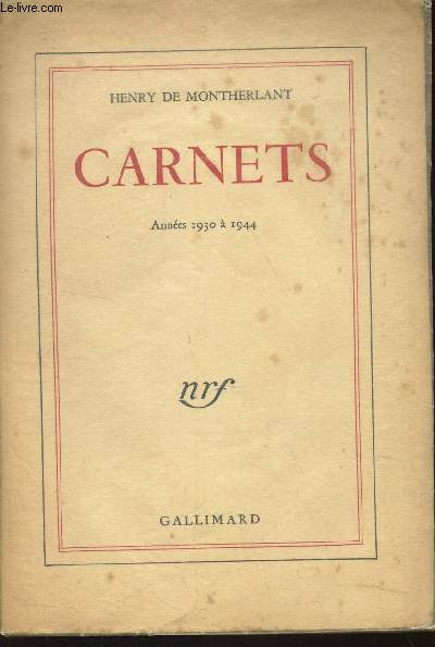 CARNETS - ANNEES 1930 à 1944.
