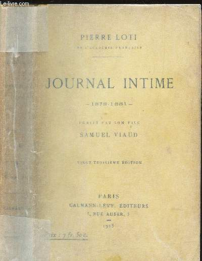JOURNAL INTIME - 1878-1881