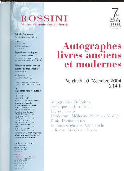 CATALOGUE DE VENTE AUX ENCHERES - LIVRES ET AUTOGRAPHES ANCIENS ET MODERNES  - Salle des ventes rossini le 10 decembre 2004
