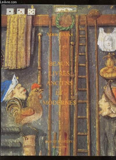 CATALOGUE DE VENTE AUX ENCHERES - BEAUX LIVRES ANCIENS ET MODERNES - Manuscrits - REliures - A DROUOT - LE 20 JUIN 1994.