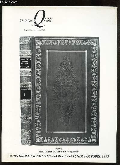 CATALOGUE DE VENTE AUX ENCHERES - LIVRES ANCIENS, ROMANTIQUES ET MODERNES - provenant en partie des bibliotheques de M. Alfred Pognant de l'historien de l'art Al. von wurzbach ... / A DROUOT LE 2 OCTOBRE 1993