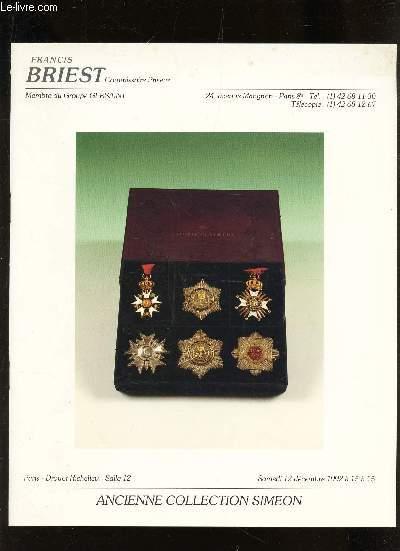 CATALOGUE DE VENTE AUX ENCHERES - ANCIENNE COLLECTION SIMEON - DROUOT LE 12 DECEMBRE 1992.