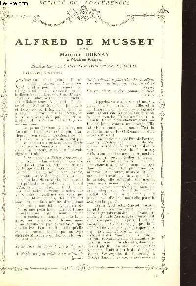 ALFRED DE MUSSET - DEUXIEME LECON : LA CONFESSION D'UN ENFANT DU SIECLE / Supplément  aux Lectures pour tous - Année 1914 - SOCIETE DES CONFERENCES