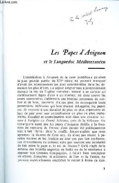LES PAPES D'AVIGNON ET LE LANGUEDOC MEDITERRANEEN / EXTRAIT DU