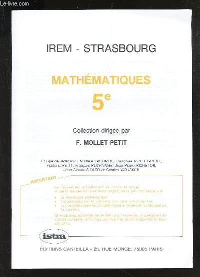 MATHEMATIQUES - 5e / IREM - STRASBOURG
