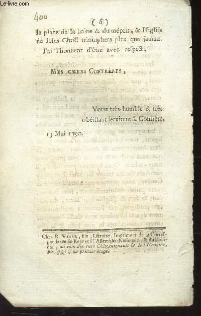 EXTRAIT DE LA CORRESPONDANCE DE RENNES A  L'ASSEMBLE NATIONALE. EN DATE 13 MAI 1790.