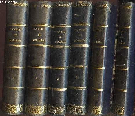 OEUVRES DE MOLIERE - EN 6 VOLUMES (DU TOME 1 AU TOME 6) - avec des remarques grammaticales, des avertissemens et des observations sur chaque pièce par BRET - précédées de la vie de Moliere par Voltaire et de son éloge par Chamfort / Nouvelle edition.