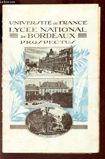 UNIVERSITE DE FRANCE - LYCEE NATIONAL DE BORDEAUX - PROSPECTUS / HORS CLASSE DE 1913 + Tarifs de retribution scolaire