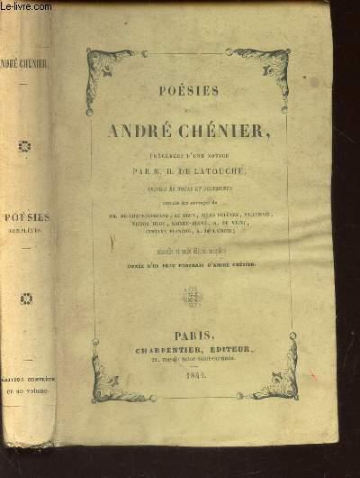 POESIES DE ANDRE CHENIER - PRECEDEES D'UNE NOTICE
