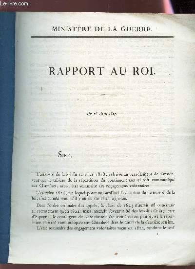 RAPPORT AU ROI - DU 26 AVRIL 1825