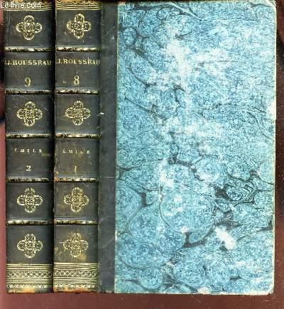 OEUVRES DE J.J. ROUSSEAU / VOLUMES 8 ET 9 : EMILE OU DE L'EDUCATION  : TOMES 1 + 2.