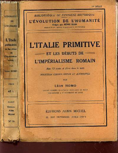 L'ITALIE PRIMITIVE - ET LES DEBUTS DE L'IMPERIALISME ROMAIN / N°16 DE LA COLLECTION