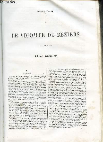 LE VICOMTE DE BEZIERS. (livre premier au livre sixieme).