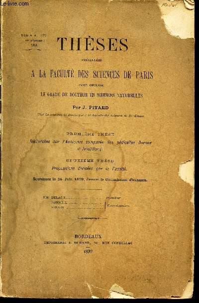 2eme THESE : PROPOSITIONS DONNEES PAR LA FACULTE - Soutenues le 26 Juin 1899 / THESES PRESENTEES A LA FACULTES DES SCIENCES DE PARIS .
