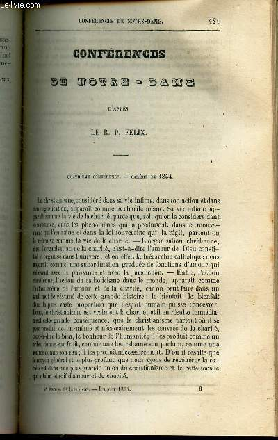 CONFERENCES DE NOTRE DAME- 4e conference - Careme de 1854.