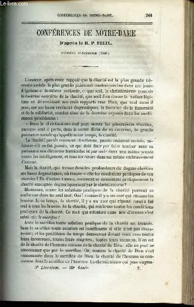 Conferences de Notre Dame - 1ere conference (1855)  .