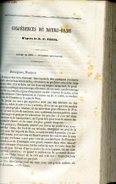 CONFERENCES DE NOTRE DAME  -Careme de 1856 - 1ere conference / .