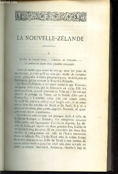 LA NOUVELLE ZELANDE - I - un peu de statistique - journal de voyage - le dimanche dans une colonie anglaise.
