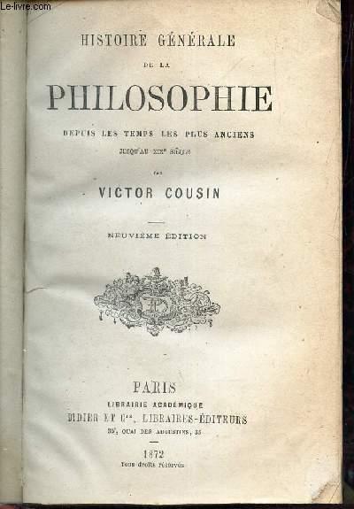 HISTOIRE GENERALE DE LA PHILOSOPHIE -