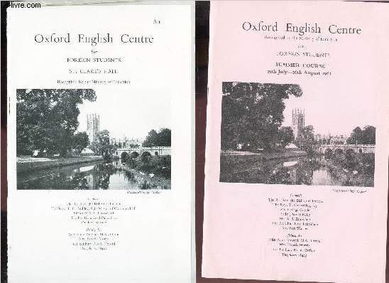2 PLAQUETTES : OXFORD ENGLISH CENTRE for Foreigh students ST clare's hall - SUMMER COURSE - 29th july - 26th august 1961.