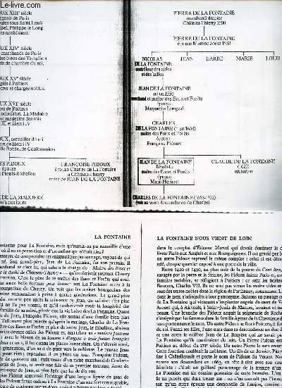 PHOTOCOPIES DU TABLEAU GENEALOGIQUE DE JEAN DE LA FONTAINE + UN EXTRAIT D'UN DOCUMENT