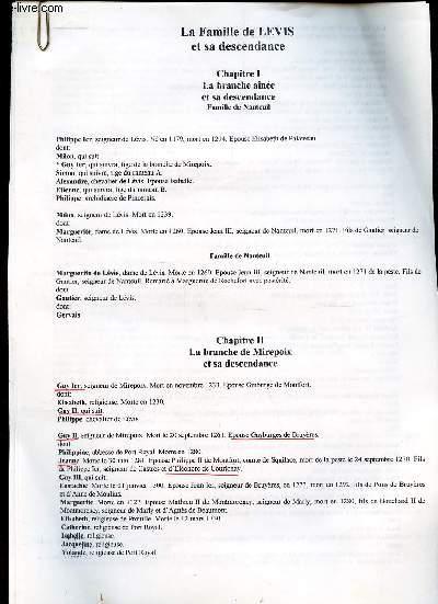 GENEALOGIE DE :   ASCENDANCE LEVIS DE BAYARD  / (ensemble de documents de recherches).