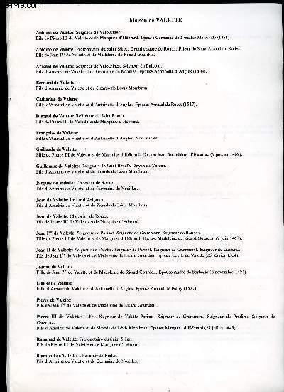 GENEALOGIE DE : Maison de Valette, Valois, Velors, Ventadour,, Verac, Veyrac, Vignacourt, Villemur, Vize, Vigt, Voisins, Van Vollenhoven  / (ensemble de documents de recherches).
