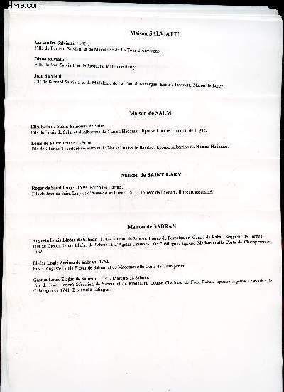 GENEALOGIE DE :  MAISON de Sabran, St Lary, Salm, Salviatti, Sambucy, Sarrieu, Saulx, Sauvage, Savoie, Saxe, Sayn, Schneider, Schomborn, Seve, sieuras, Van der Simssen, Solan, Stuart, suede, Sully   / (ensemble de documents de recherches).