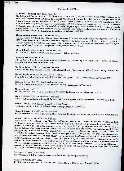 GENEALOGIE DE : MAISON de Rafelis, Remusat, Reynat, rigaud, Rochechouart, rohan, Rolin, Roncherolles, rouault, rousselet, Roux, Russie   / (ensemble de documents de recherches).