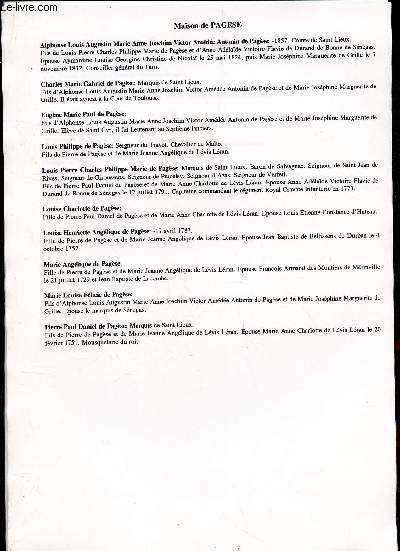 GENEALOGIE DE :   MAISON de Pagese, Parc, Pardaillan, Perrone, Perusse, Pestels, Philipps, Pierre Buffieres, Pins, Poitiers, Polignac, Pons, Portugal, Poussard, Puy, Puymirol  / (ensemble de documents de recherches).