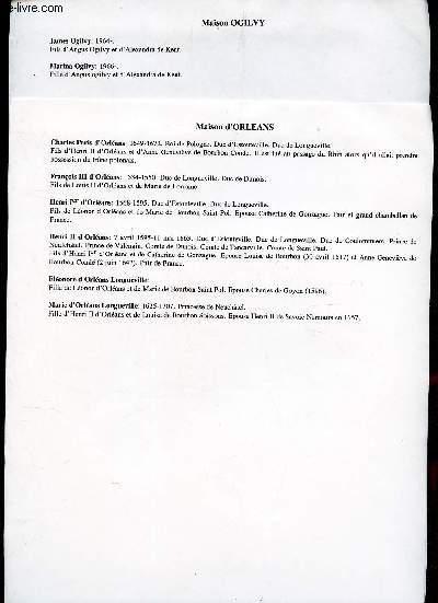 GENEALOGIE DE : Maison d'Orléans - Maison Ogilvy    / (ensemble de documents de recherches).
