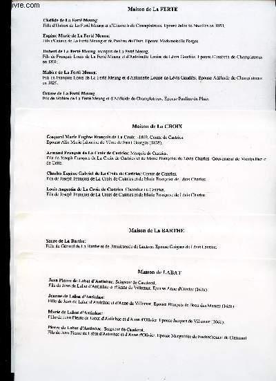 GENEALOGIE DE : MAISON de Labat, LA Barthe, LA Croix, La Ferte, La Guiche, LA Haye, LA Marck, LA Roche, LA Rochefoucauld, Larroux, LAscelles, Lasteyrie, La tour, LA Tremoille, Laureau, Lautrec, Lauzieres, Le Groing, Le Long, Le Maugin, Le tellier, etc...