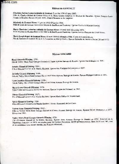GENEALOGIE DE : MAISON DE Gaste, Gelas, Georges Picot, Giscard, Gontaud, Gonzague, Goyon - Grimaldi de Monaco, Grailly, Grece, Grimaldi, Grolee, Guillermo  / (ensemble de documents de recherches).