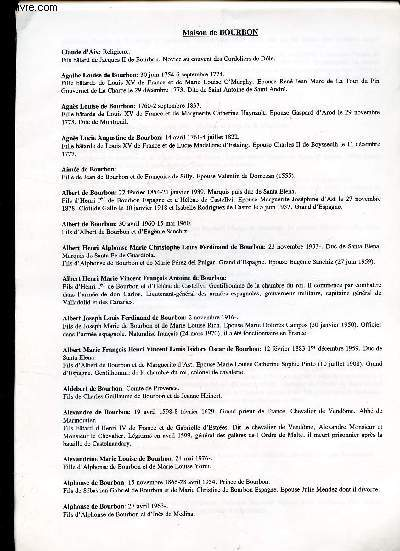 GENEALOGIE DE : MAISON DE BOURBON  - de Condé, Conti, Deux siciles, Espagne, France, Luxembourg, Orleans, Razout, Vendome / (ensemble de documents de recherches).