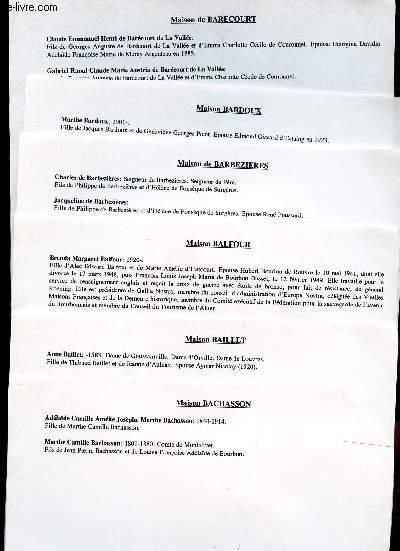 GENEALOGIE DE MAISON Bachasson, Baillet, Balfour, Balbezieres, Bardoux, Barecourt, Barton, Barucci, Bastard, Battenberg, Bauffremont, Baviere, Bazillac, Beaufort, Beauvau, Bec, Bellissen, Benque, Beon, Beranger,etc. /(ensemble de documents de recherches).
