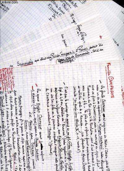 NOTES MANUSCRITES DE CONCENRANT LA RECHERCHE GENEALOGIQUE DE LA