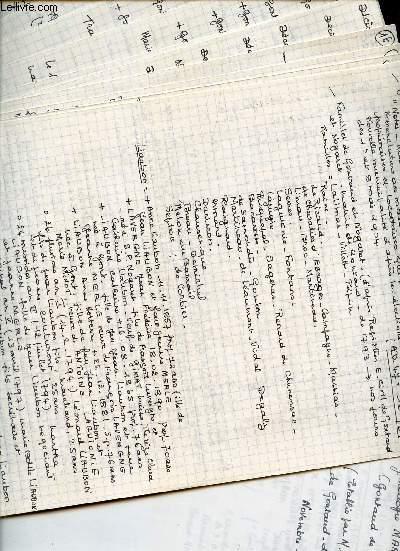 NOTES MANUSCRITES CONCERNANT DES RECHERCHES GENEALOGIQUES DE