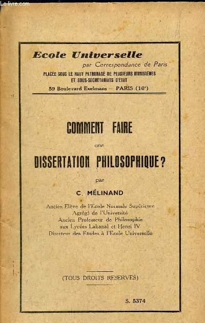 COMMENT FAIRE UNE DISSERTATION PHILOSOPHIQUE.