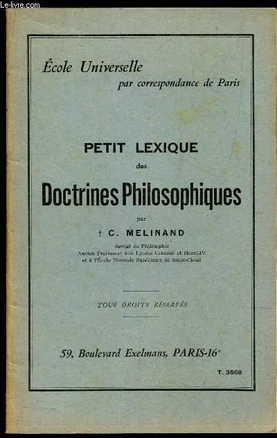 PETIT LEXIQUE DES DOCTRINES PHILOSOPHIQUES