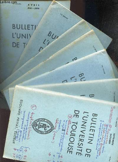 LOT DE 7 BULLETINS DE L'UNIVERSITE - DU N°I au 7 - (74e année - de sept-oct 1964 à Avril-mai-juiin 1965.