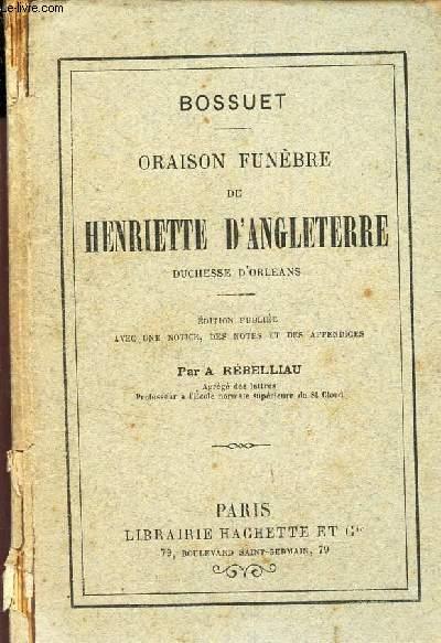 ORAISON FUNEBRE DE HENRIETTE D'ANGLETERRE DUCHESSE D'ORLEANS