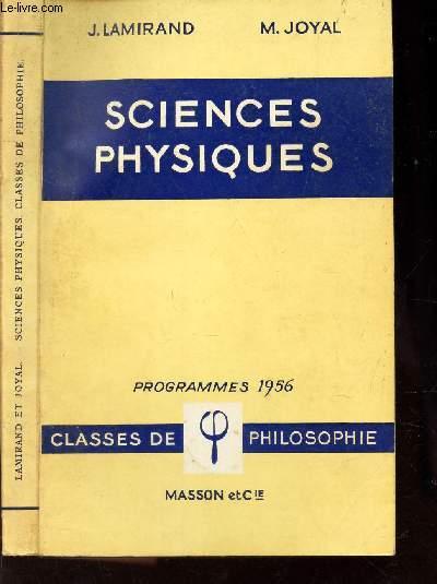 SCIENCES PHYSIQUES / CLASSE DE PHILOSOPHIE / PROGRAMMES 1956.